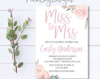 Miss To Mrs Invitation, Blush Watercolor Floral Shower Invitation, Shower Invitation, Blush Bridal Shower, Floral Shower Invitation