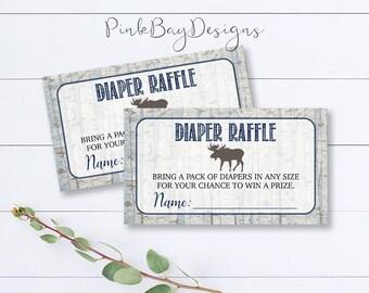 Woodland Diaper Raffle Ticket, Rustic Diaper Raffle, Boy Baby Shower Insert, Woodland Baby Shower Printable, Diaper Raffle Card, Downlaod