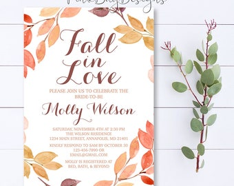Fall In Love Bridal Shower Invitation, Fall In Love Invitation, Fall Bridal Shower Invitation, Bridal Shower Invite, Autumn Bridal Shower