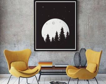 Full Moon, illustration printable, wall art, digital prints, black and white poster