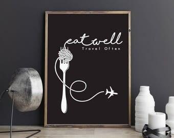 Eat Well, Travel Often, typography poster, printable quote, wall art, digital prints, black and white, digital art, scandinavian print