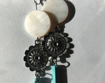 Long Turquoise and Silver Dangle Earrings