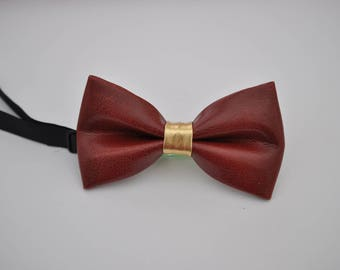 Mens PVC Faux Leather Dark Red GOLD Shining Bow Tie Bowties Wedding Party