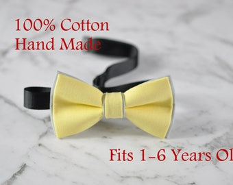 Boy Kids Baby Cotton Baby Yellow Grey Bow Tie Bowtie Party Wedding 1-6 Years Old