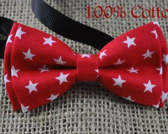 Men Women 100% Cotton RED White Stars PATTERN Hand Made Craft Bow Tie Bowtie Wedding Party