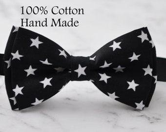 MEN Women 100% Cotton BLACK with White Stars Pattern Craft Bow Tie Bowtie Wedding Party