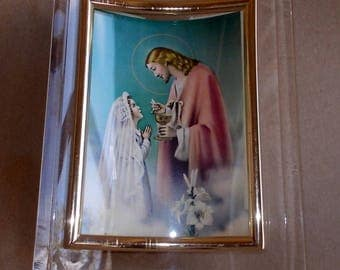 1970's First Communion Remembrance Curve Frame Lucite Italian Print