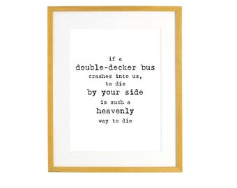 Morrissey Double Decker Bus Quote Wall Art Print - Vintage Typewriter -  Love There is a Light That Never Goes Out Wedding Art
