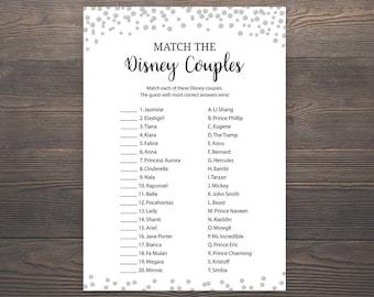 Silver Bridal Shower Games, Match the Disney Couples, Printable Bridal Shower, Disney Couples Match Game, Silver Bridal Shower, J014