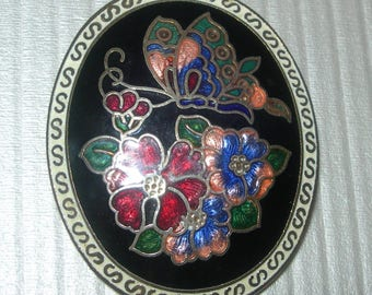 Oval brooch ,butterfly and flowers, enamelled, cloisonne, vintage