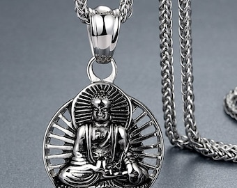 Stainless Steel Buddha Pendant Necklace