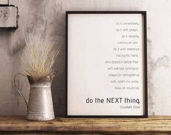 Modern Wall Art White Do The Next Thing Elisabeth Elliot Quote