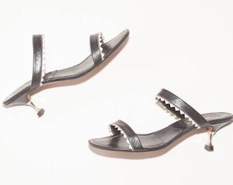 Manolo Blahnik \\ Vintage Shoes \\ Double Band Slide Sandals \\ Vintage Sandals \\ Deep Navy Blue Kitten Heels \\ Metal Heels \\ Size 36.5