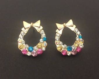 Very colorful bow earrings