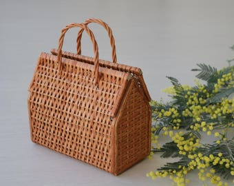 Wicker bag, bolsa de mimbre, sac en osier, market bag, kurvpose, Wickeltasche, korgväska, summer bag, gift for mom.