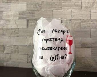 Mystery Mousekatool stemless wine glass