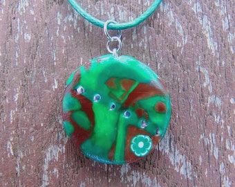 Swirly Clay Pendant - Handmade Polymer Clay Jewelry - Colorful Artsy Necklace - Handcrafted Clay Necklace - Camo Necklace - Camouflage