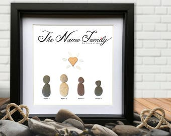 Family Love Personalised Pebble Gift. Pebble and Sea Glass Picture. Add your family name and family members