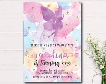 Fairy Invitation, Fairy Birthday Invitation Girl 1st First Birthday Party Invitation Watercolor Gold Glitter Printable Invitation Purple