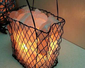 """Himalayan Salt Lamp   Natural salt lamp   Wire """"Shopping Bag"""" Basket, salt lamp basket"""