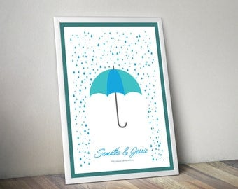 Raindrop Umbrella Winter Guest Book Fingerprint Signature Wedding Engagement Birthday Customised Personalised Guestbook Print at Home