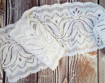 Vintage lace 70,9 in Antique lace Lace borders Lace fabric Vintage wedding Vintage lace trim Vintage supplies Antique cotton lace White lace