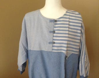 80's Striped Shirt // Blue White DonnKenney FREE SHIPPING