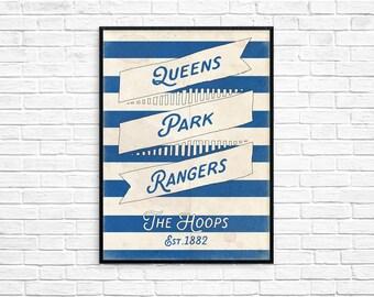 The Hoop's Queens Park Rangers FC Print Picture Art Poster Retro Style Print QPR