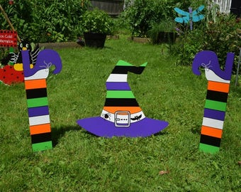 Crashed Witch Yard Stakes, Witches Hat and Legs Garden Stakes, Halloween Witches Hat and Witches Legs and Shoes Garden Outdoor Decoration