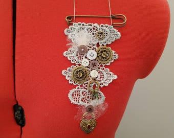 Lace steam punk handmade brooch