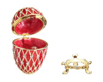 Russian Faberge Style Egg / Trinket Jewel Box with Grid 7cm (2.8'') red