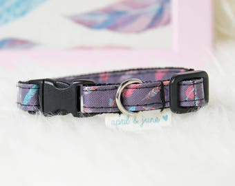 "Cat Collar Breakaway Buckle ""Feather Arrow Purple"""