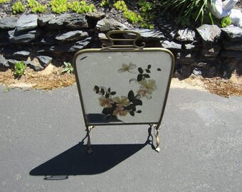 Antique Hand Painted Mirror Fire Screen