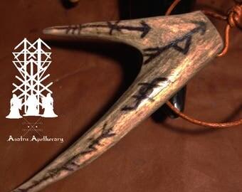 Artic Reindeer antler pendant protection bind rune shaman horn berserker viking deer cult antler pendant rune protection warrior
