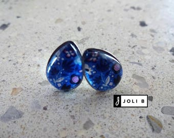Earrings stainless steel - glass Cabochon - 10 X 14 mm