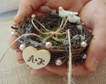 Rustic vine bird nest ring bearer  with moss and dried flowers,country wedding,Personalized Ring Bearer,Rustic Ring Holder,Nest Ring Bearer