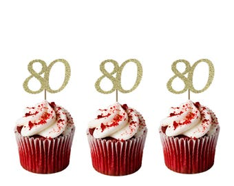 Number 80 Birthday Cupcake Toppers - Pack of 10 - Glittery Cupcake Toppers
