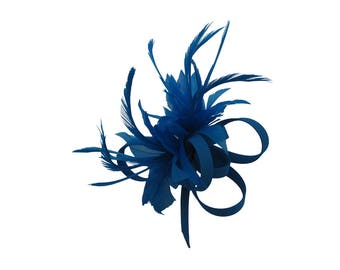Cobal Blue Feather Silk Fascinator Corsage Bridal Prom Races Race Day Wedding Hair Piece Ascot Races