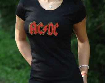 AC/DC Tshirt Black Ac Dc Tee Cotton tshirt Gift for women Rock Tshirt ac/dcVintage rock  Ac Dc tshirt WomenT-shirt 's Gift Rock Tshirt