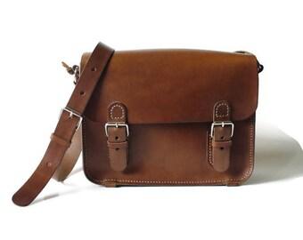 Leather shoulder bag, small briefcase bag, brown leather bag, leather handbag, gift for you