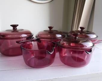 9 PIECE CORNING VISION  cranberry lot casseroles, baking dish, sauce pans