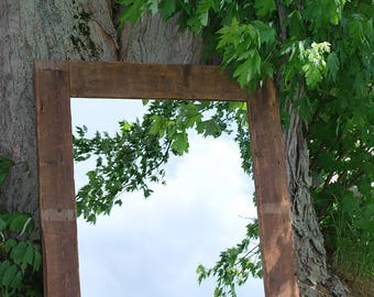 Mirror reclaimed barn wood and rustic/wood/reclaimed barnwood mirror/wood framed mirror