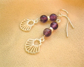 Concha earrings with Camino scallop shell symbol + amethyst gems