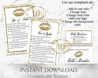Gold Glitter LipSense Starter Bundle - INSTANT Download