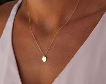 Medium plate - gold filled chain