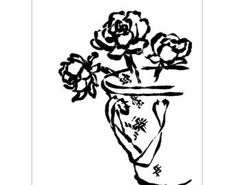 VINTAGE Series | Flower Basket 11x14 Original Watercolor Art Print
