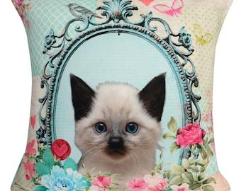 Handmade Kitten 1 with Velvet backs Filled Piped Big Cushion, 65cm x 65cm