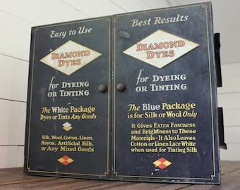 Vintage Industrial Diamond Dye Counter Display Cabinet, Vintage Advertising Wall Cabinet