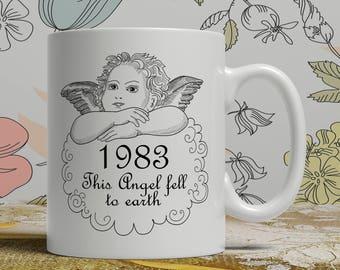 Born 1983, Angel mug, 35th Birthday mug, 35th birthday idea, 1983 birthday, 35th birthday gift, 35 years old, Happy Birthday, EB 1983 Angel