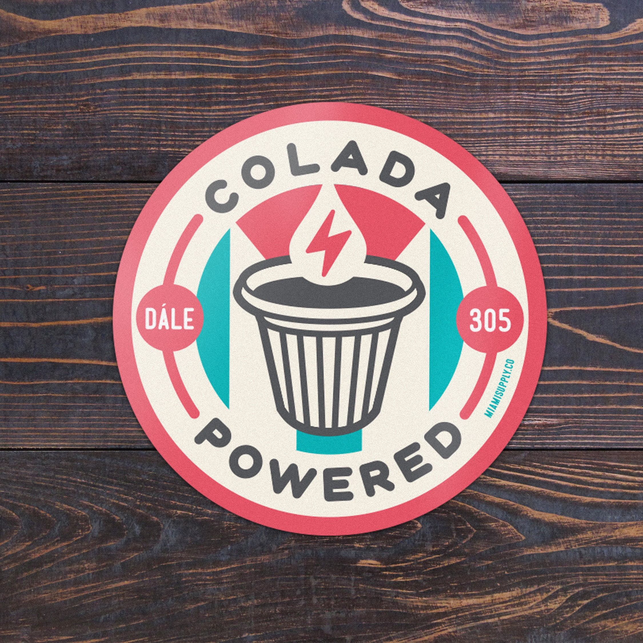 Miami Colada Powered Cuban Coffee Sticker